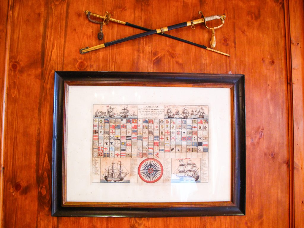 Old dual swords on wall above an old flag chart.